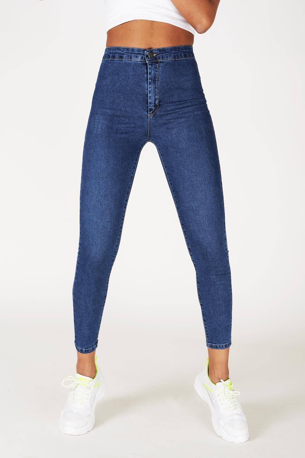 Addax Kadın Kot Rengi Yüksek Bel Pantolon Pn11178 - Pnu ADX-0000016107
