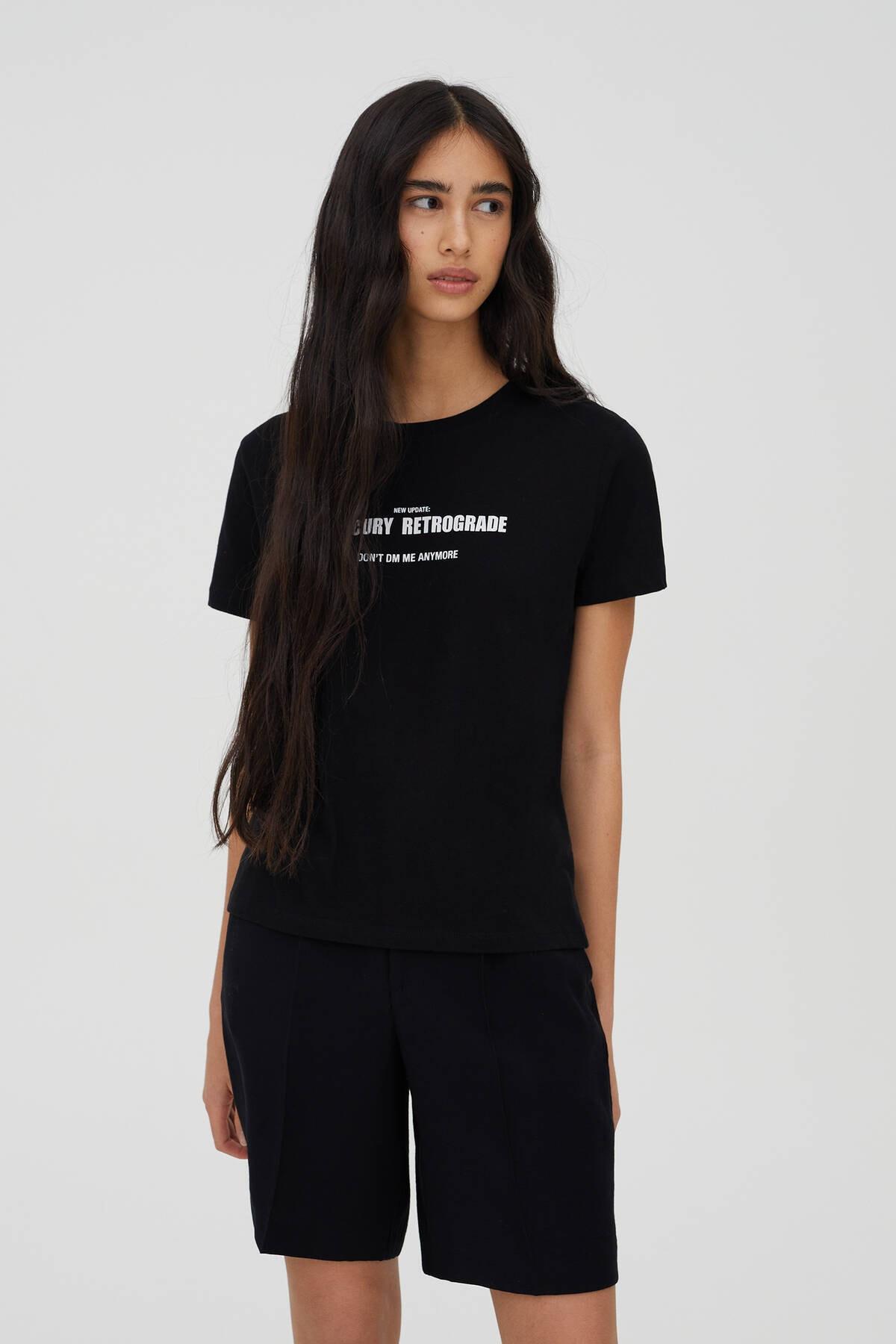 Pull & Bear Kadın Siyah Sloganlı Kısa Kollu T-Shirt 09244325 1