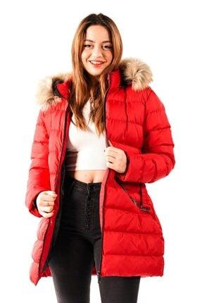 PIQUE Kadın Kırmızı Beli Kemerli Kürklü Uzun Mont