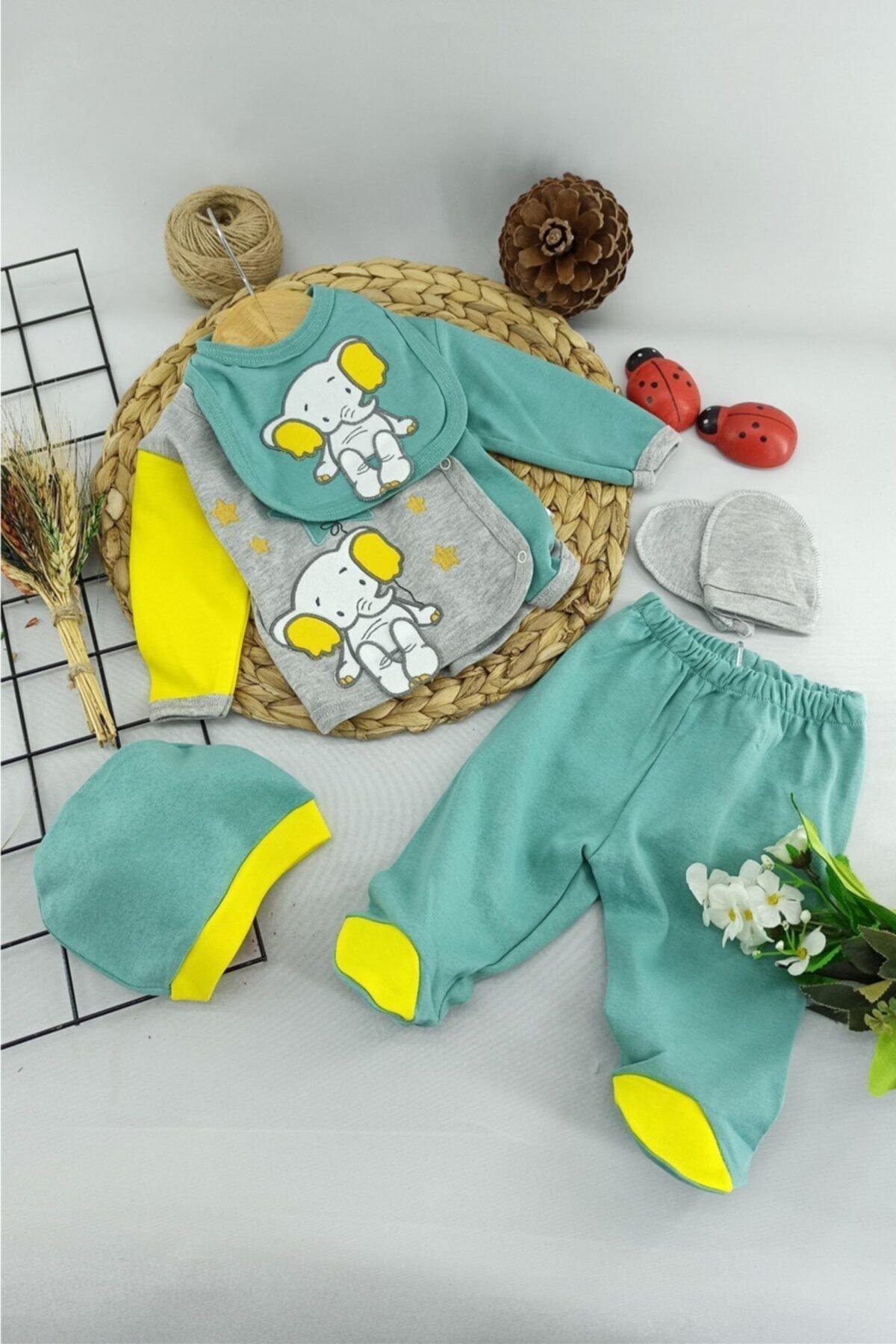 ALİSS Yeşil Fil Desenli Bebek Hastane Çıkışı 5 Li Zıbın Set 0-3 Ay 1