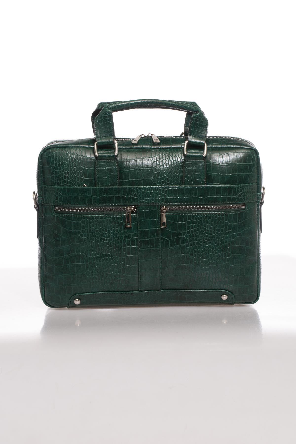 Sergio Giorgianni Luxury Mpist9141 Kroko Yeşil Unısex Evrak Çantası 1