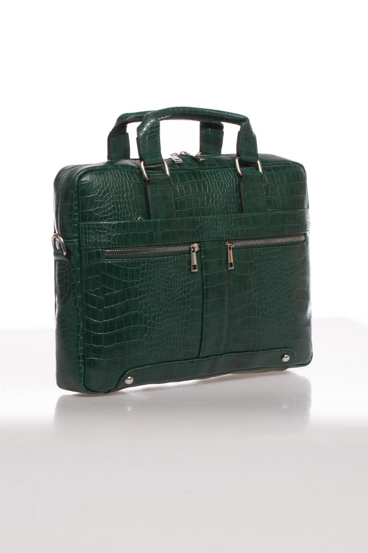 Sergio Giorgianni Luxury Mpist9141 Kroko Yeşil Unısex Evrak Çantası 2