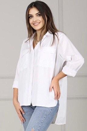 Madmext Mad Girls Beyaz Oversize Gömlek Mg998
