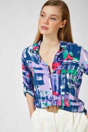 Happiness İst. Kadın Deniz Mavisi Desenli Viskon Gömlek BH00318