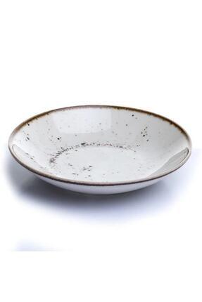 Tulü Porselen Krem Çukur Yemek Tabağı Takımı 6 Adet 19cm