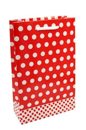 Kraft Puantiyeli Kırmızı Karton Çanta 12x17 25 Adet