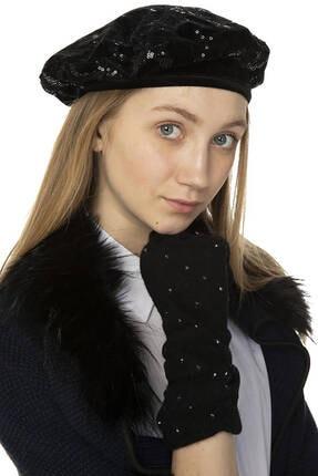 Miramar Kadın Bere Siyah Pullu Desen 11469