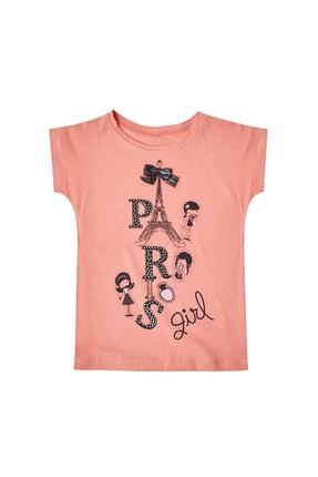 Pattaya Kids Kız Çocuk Taşlı Paris Baskılı Kısa Kollu Tişört 1-5 Yaş P-pm6422