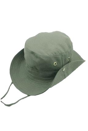 SOLİSTO Siperli Yüz Korumalı Safari Şapka Askeri Yeşil