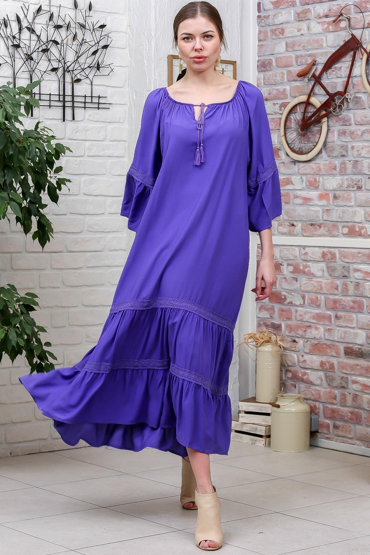 Chiccy Kadın Mor Carmen Yaka Omuzları Lastikli Bağlamalı Kopenakili Uzun Elbise M10160000EL95592