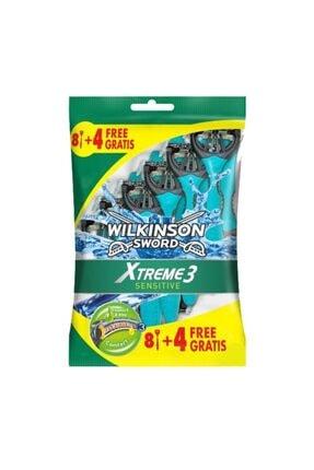 Wilkinson Sword Xtreme 3 Sensitive 8+4 Üç Bıçaklı Kullan At Tıraş Bıçağı