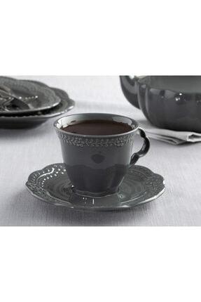 English Home Viyana Porselen 4 Parça Çay Fincanı Takımı 180 Ml Antrasit