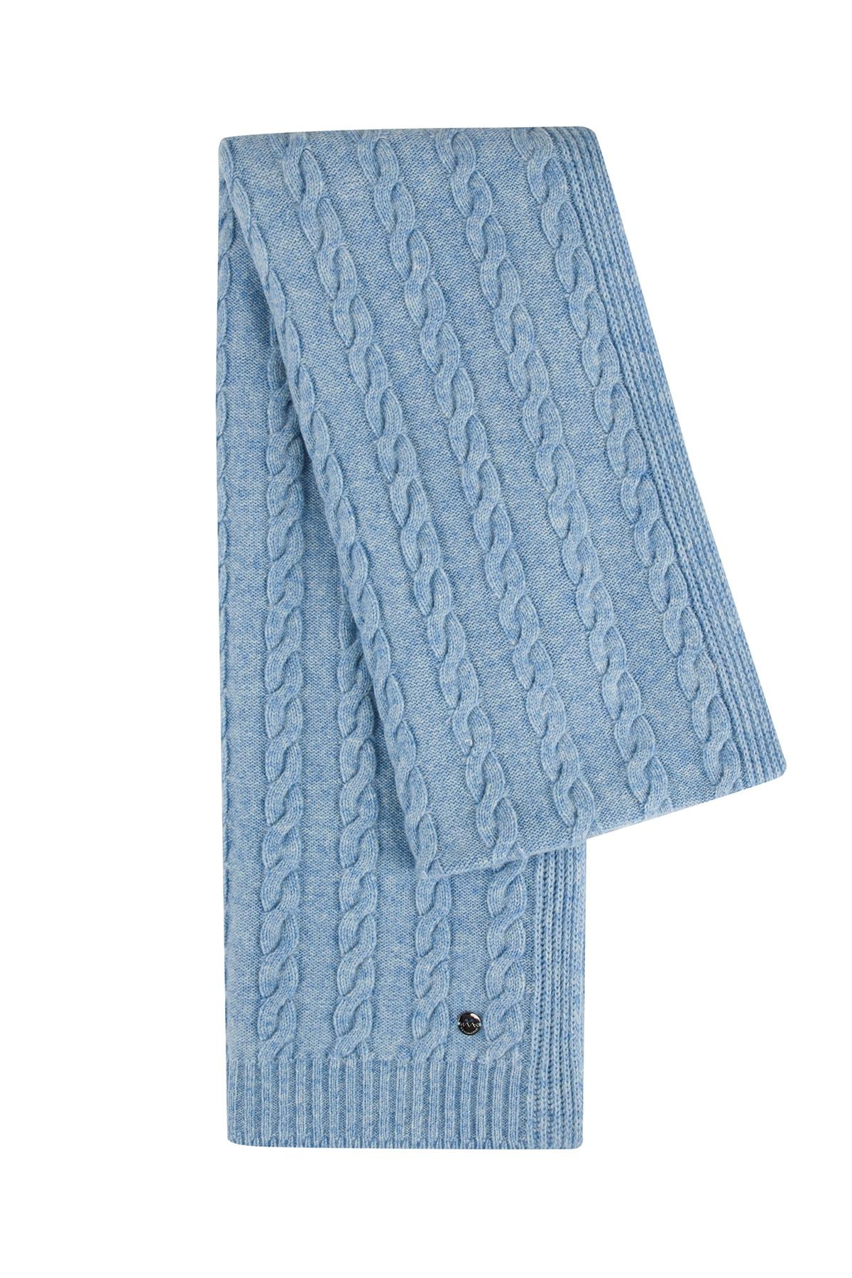 Hemington Erkek Mavi Saç Örgü Saf Kaşmir  Atkı 1