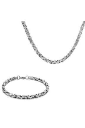 Tesbihane Silver Renk Çelik Kral Zincir Bileklik Kombini