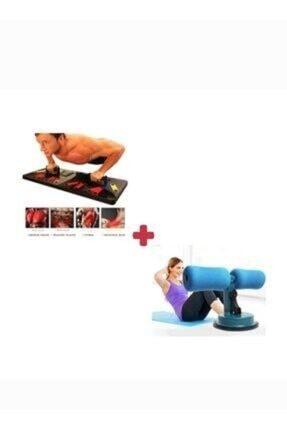 ALYA STAND Fitness Seti Şınav Çekme Plartformu Tahtası Ve Vantuzlu Mekik Çekme Aleti 2'li