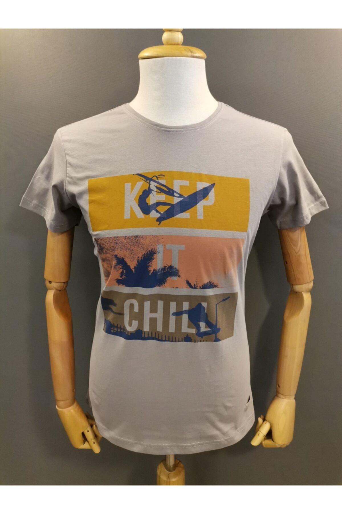 Lion Erkek Bisiklet Yaka  T-shirt 2709 Gri Baskılı 1