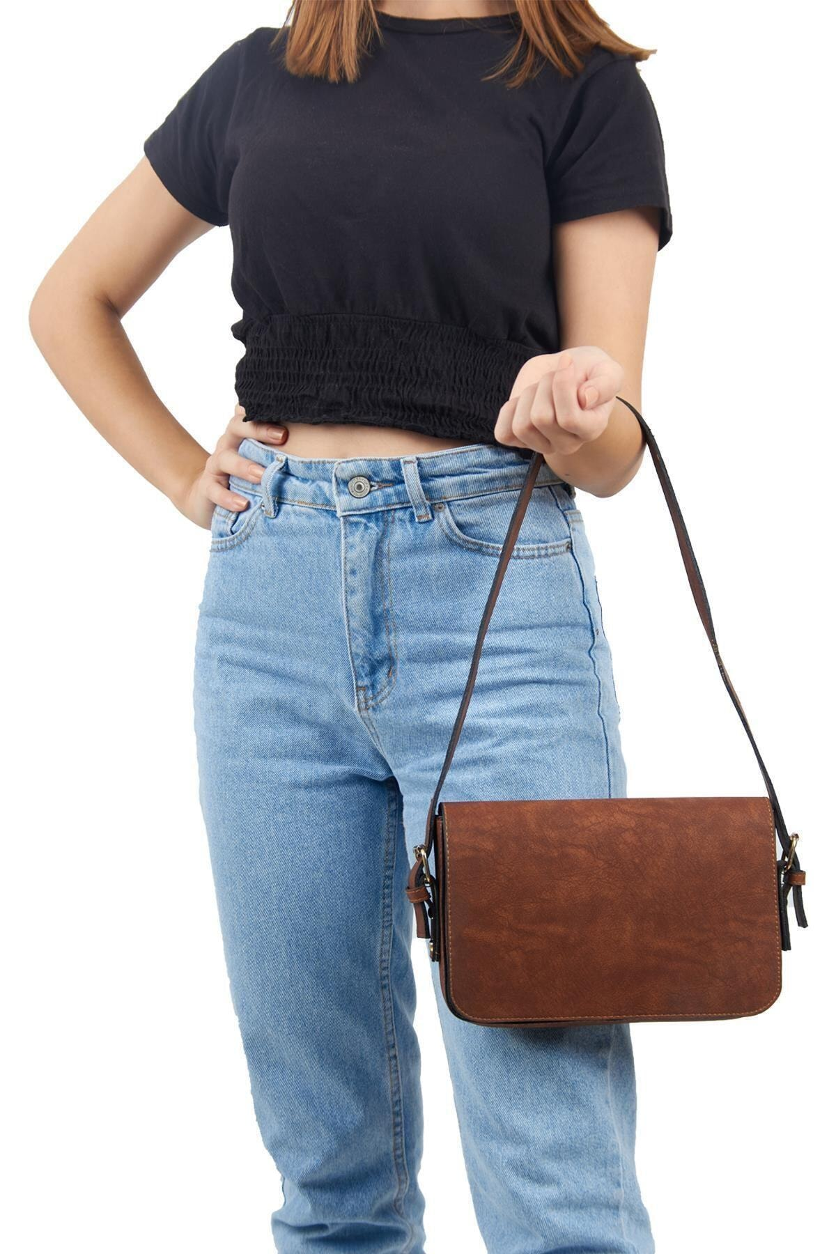 Lebina Kahverengi Kapaklı Baget Çanta 1