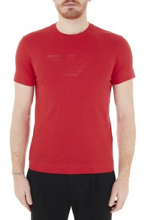 Emporio Armani Erkek Kırmızı Logo Baskılı Bisiklet Yaka T Shirt