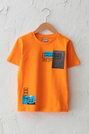 LC Waikiki Erkek Çocuk Canlı Turuncu Gfx T-Shirt