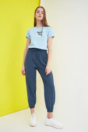 TRENDYOLMİLLA Lacivert Düğme Detaylı Pantolon TWOSS21PL0037