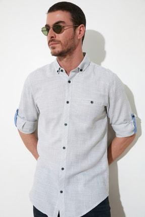 TRENDYOL MAN Haki Erkek Düğmeli Yaka Fileto Cepli Apoletli Slim Fit Gömlek TMNSS20GO0139
