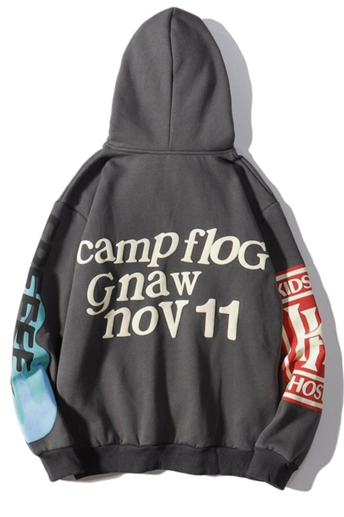 Madmext Mad Girls Antrasit Baskılı Oversize Sweatshirt Mg903 2