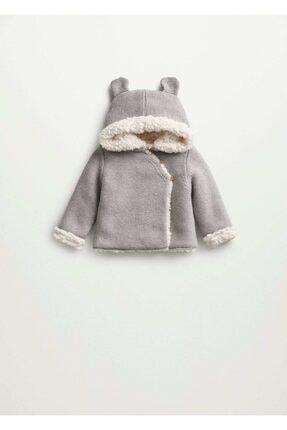 MANGO Baby Unisex Bebek Gri Kapüşonlu Örgü Palto