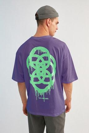 TRENDYOL MAN Mor Erkek Oversize T-Shirt TMNSS21TS1062