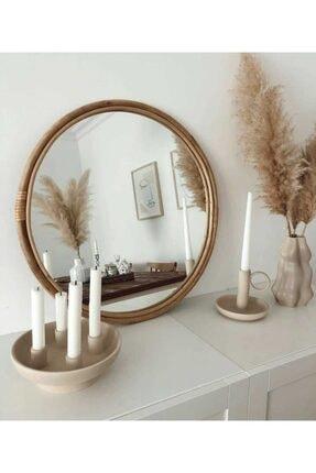 kardelen bambu mobılya Bambu Çerçeveli Yuvarlak Ayna 60 Cm