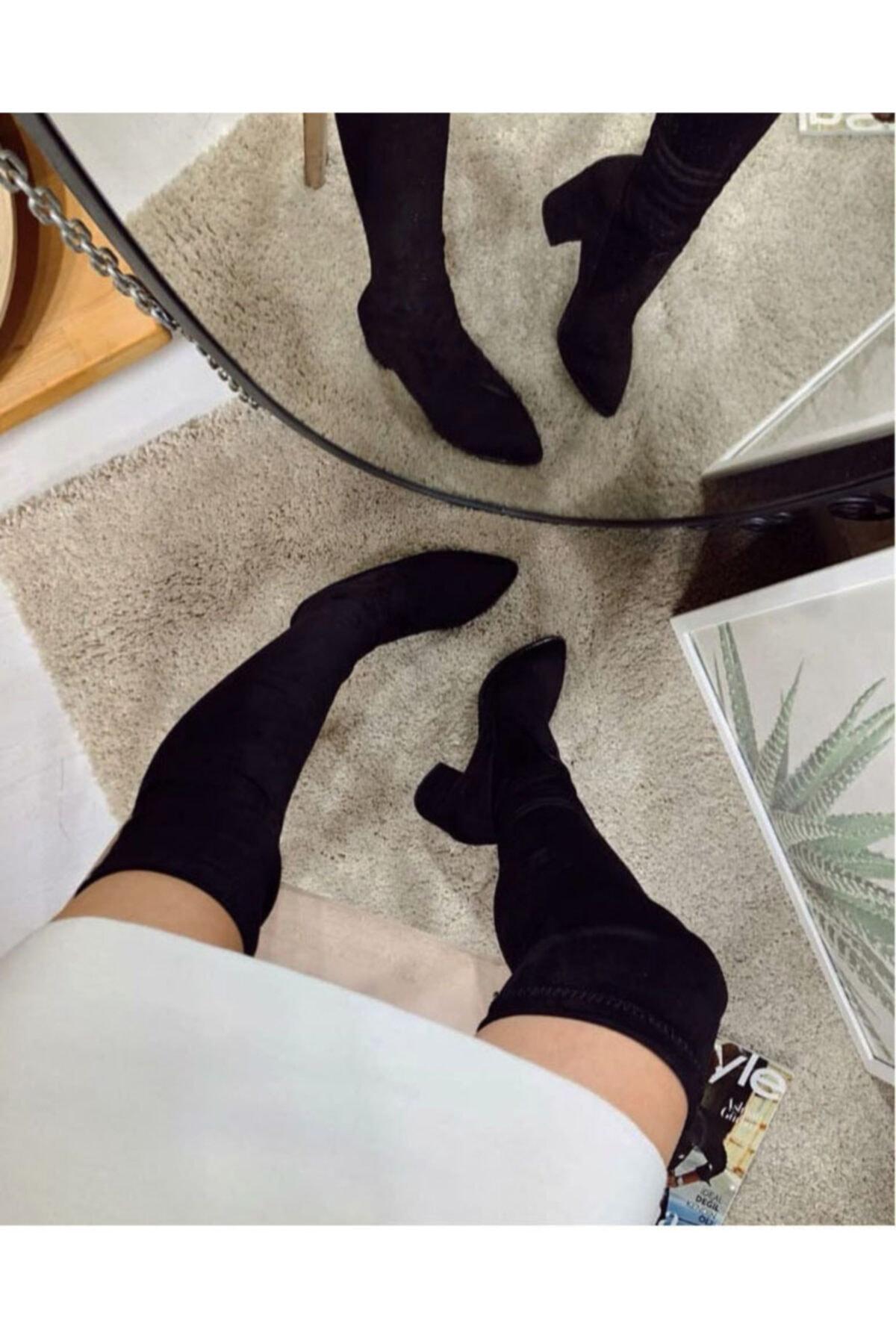 İLGİPARK Kadın Sivri Burun Streç Çizme Çorap Çizme 1