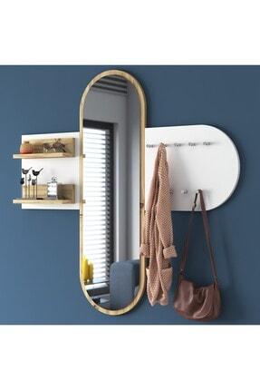 Rani Mobilya Rani P3 Aynalı Duvar Askısı Boy Aynası Keçe Ceviz Beyaz Vestiyer