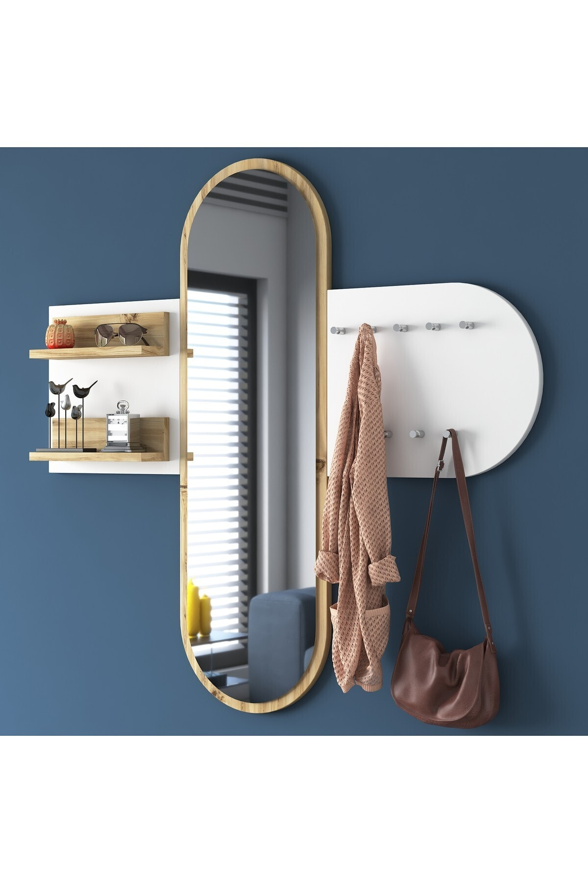 Rani Mobilya Rani P3 Aynalı Duvar Askısı Boy Aynası Keçe Ceviz Beyaz Vestiyer 1