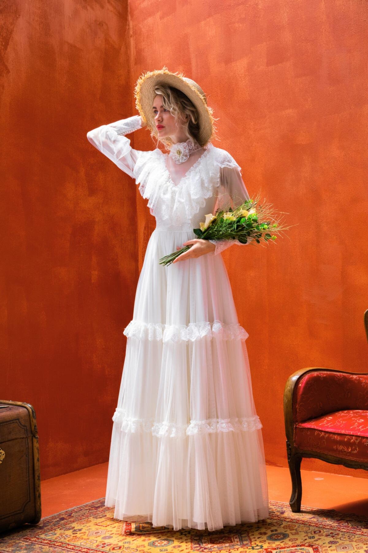 JAQAR Kadın Krem Vintage Aksesuar Detaylı Transparan Gelinlik 2
