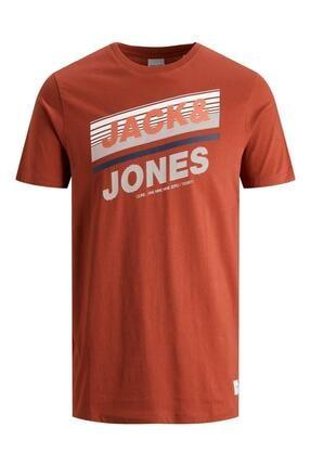 Jack & Jones Unisex Kiremit Çizgili Yazı Orta Şerit Baskı T Shirt 12187539