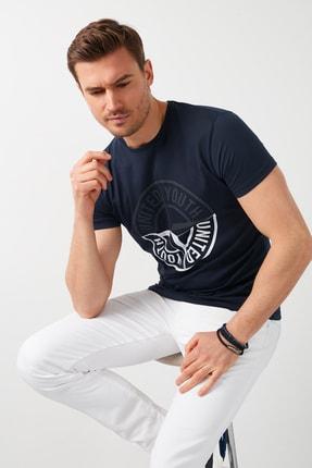 Buratti Erkek Lacivert Baskılı Bisiklet Yaka Pamuklu T-Shirt