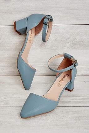 Bambi Mavi Nubuk Kadın Klasik Topuklu Ayakkabı K01503720071
