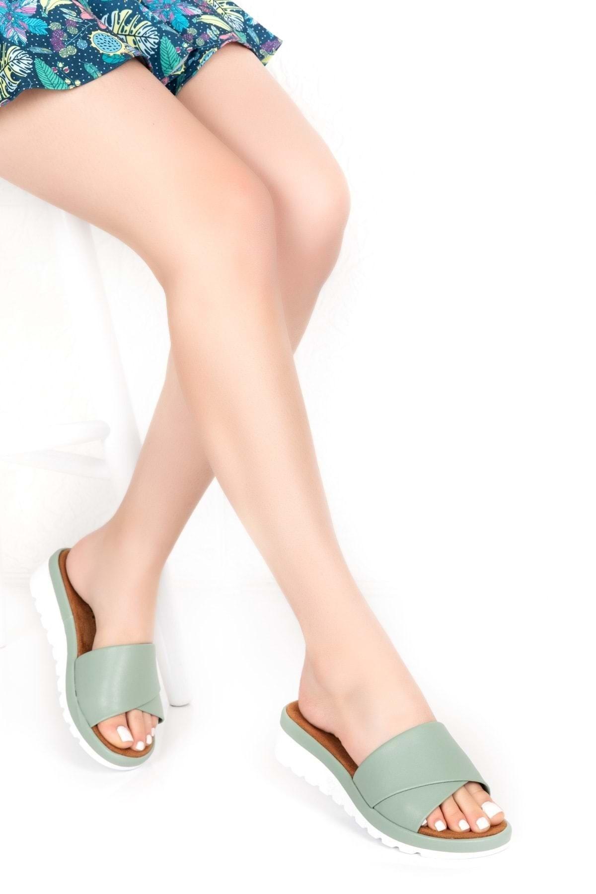 Gondol Kadın Yeşil Ortopedik Taban Terlik 1