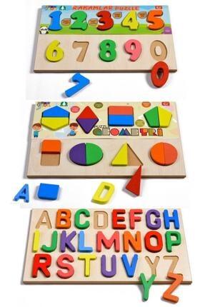 Türk Toys Ahşap Puzzle 3'ü 1 Arada Alfabe-geometri-sayılar