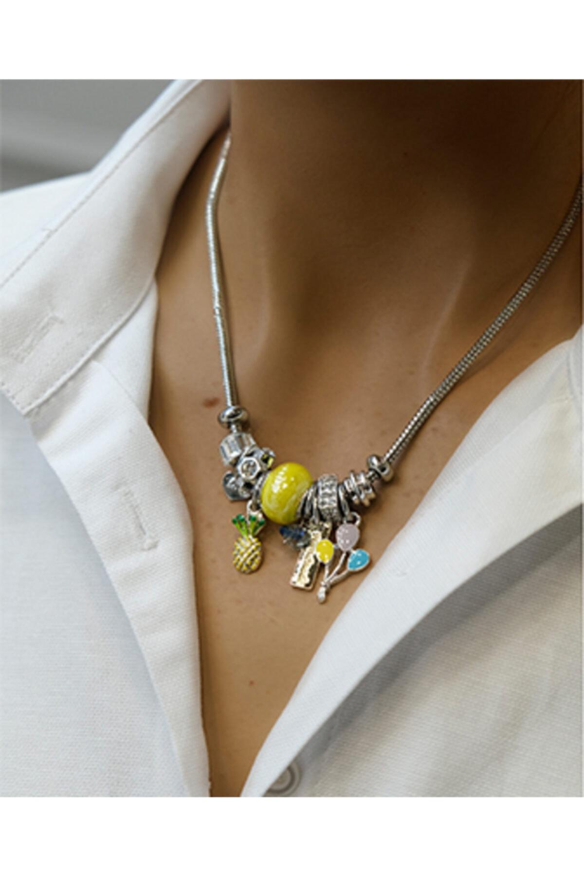 Marjin Kadın Sarı Taşlı Balon Figürlü Gümüş Renkli Kolyesarı 1
