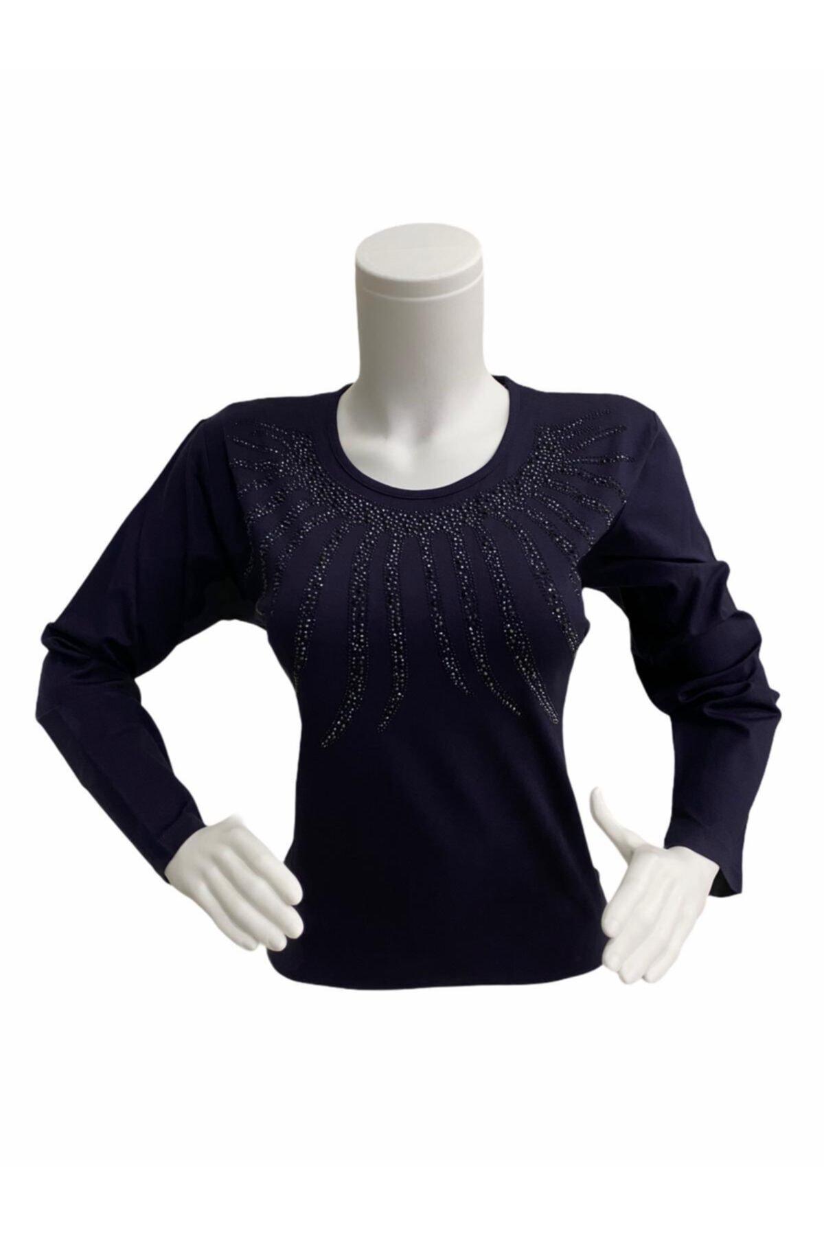 Elele Kadın Lacivert Sıfır Yaka Anne Penye Bluz 1
