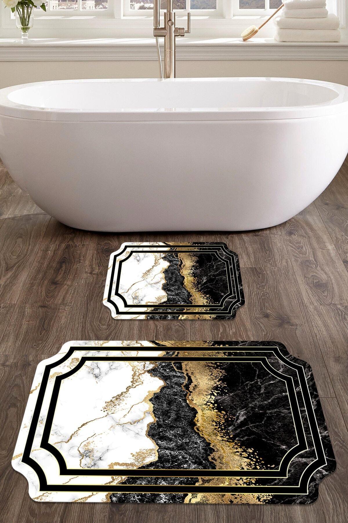 colizon 60x90 - 50x60 Prestij Dijital Banyo Halısı Lazer Kesim Klozet Takımı 2'li Paspas Seti 1