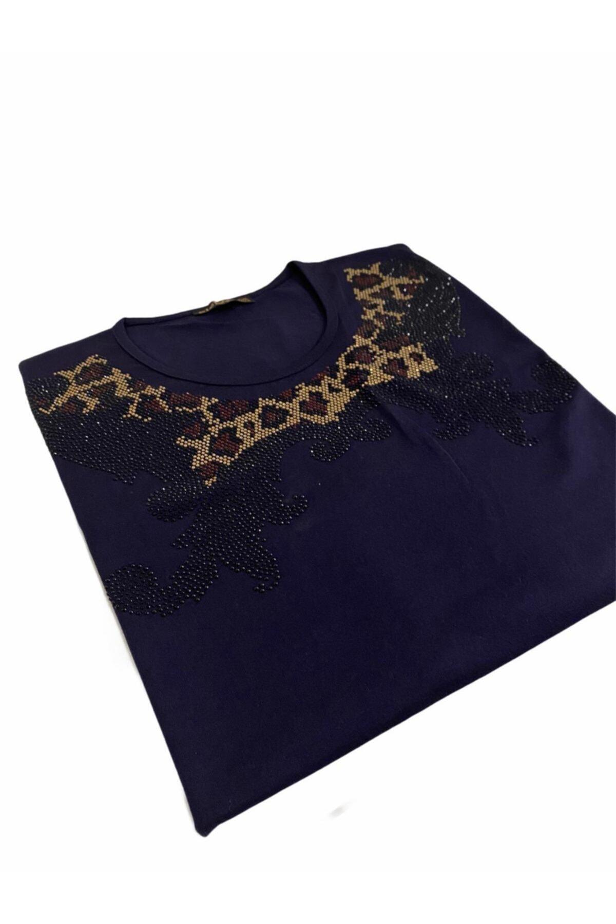 Elele Kadın Lacivert Leopar Desen 0 Yaka Anne Penye Bluz 1