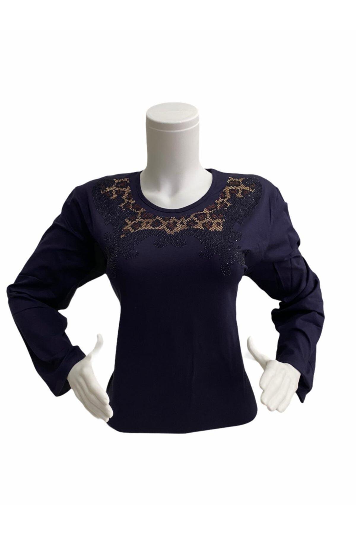 Elele Kadın Lacivert Leopar Desen 0 Yaka Anne Penye Bluz 2