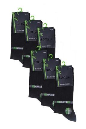 SOOFIT Erkek Siyah Bambu Çorap 6'lı Paket