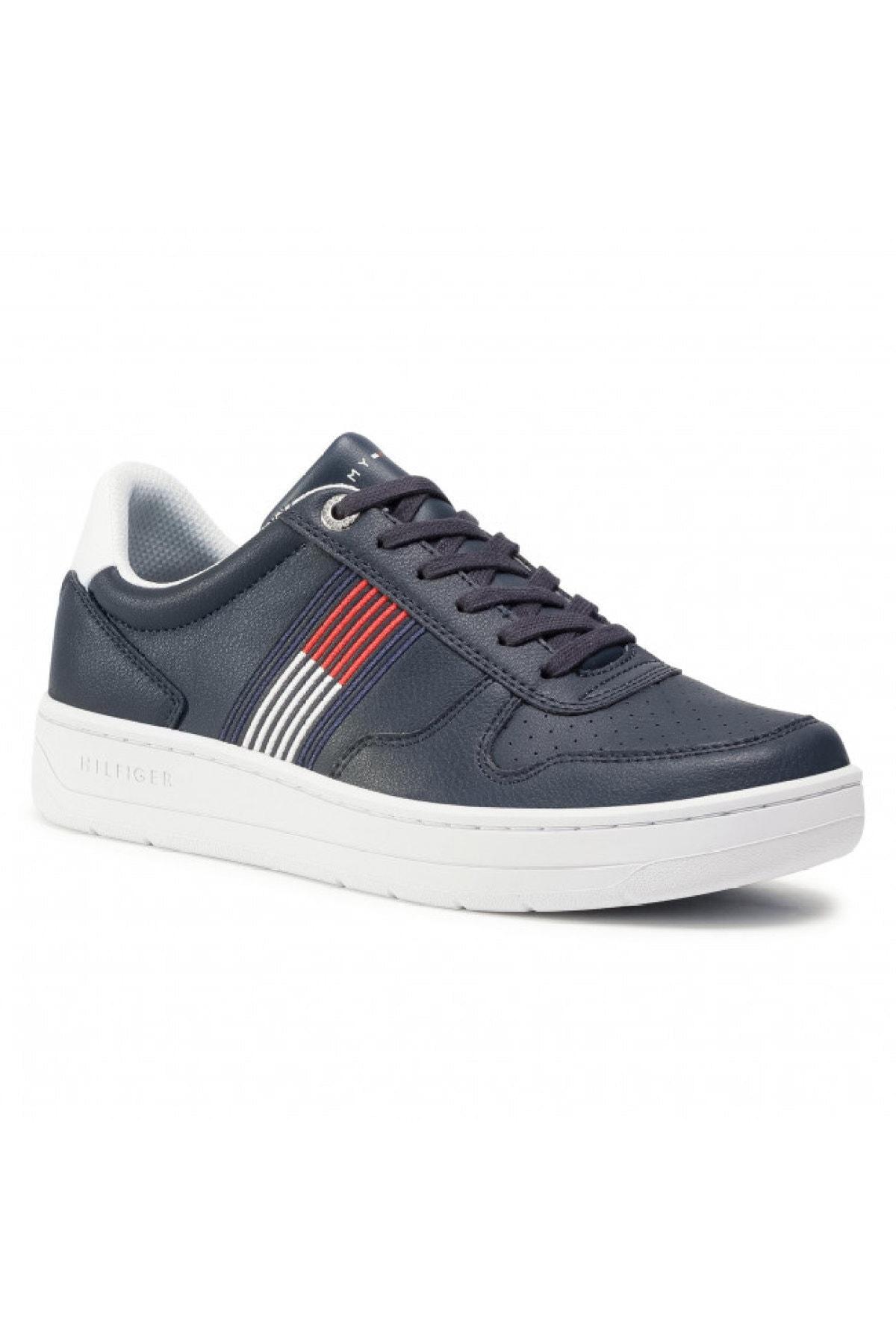 Tommy Hilfiger Erkek Mavi Sneaker Basket Low Cupsole Sneaker FM0FM02843 1