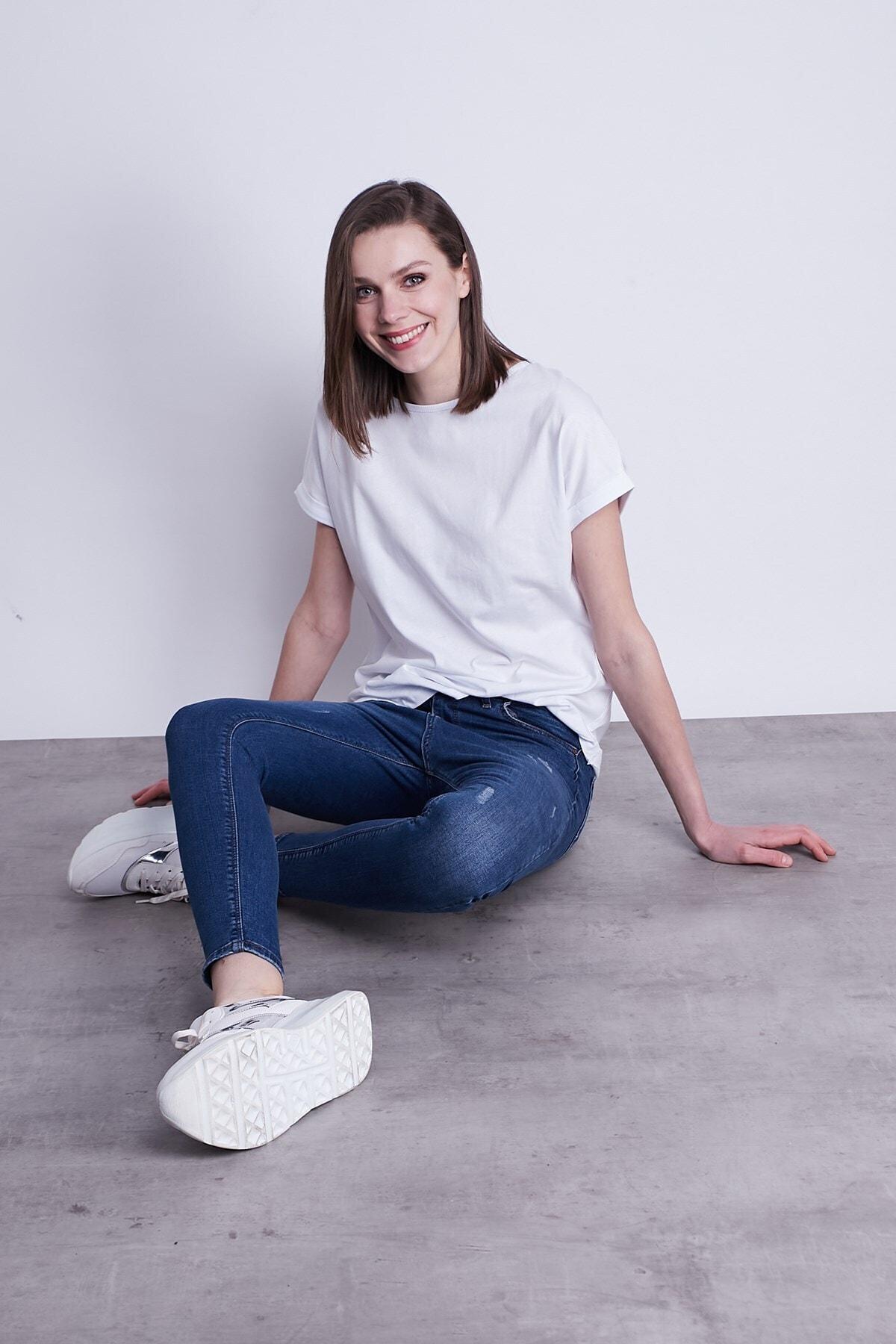 Jument Kayık Yaka Kısa Duble Kol Rahat Spor Tshirt-beyaz 1