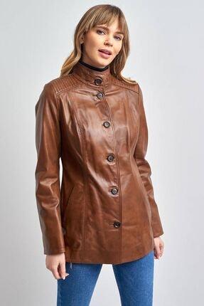 Pierre Cardin Kadın Taba Hakiki Uzun Deri Ceket
