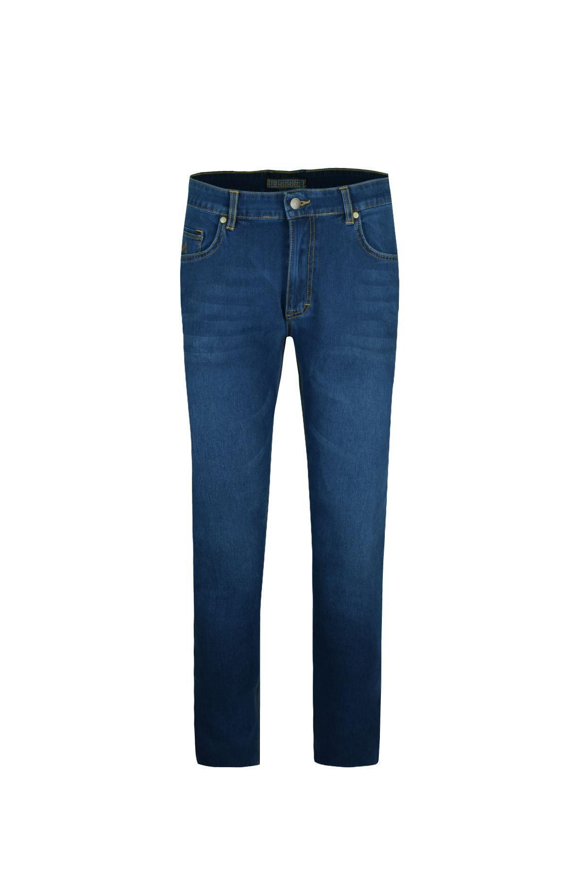 LUCCİO Erkek Slimfit Mavi Comfort Likralı Bilek Paça Denim Pantolon 1
