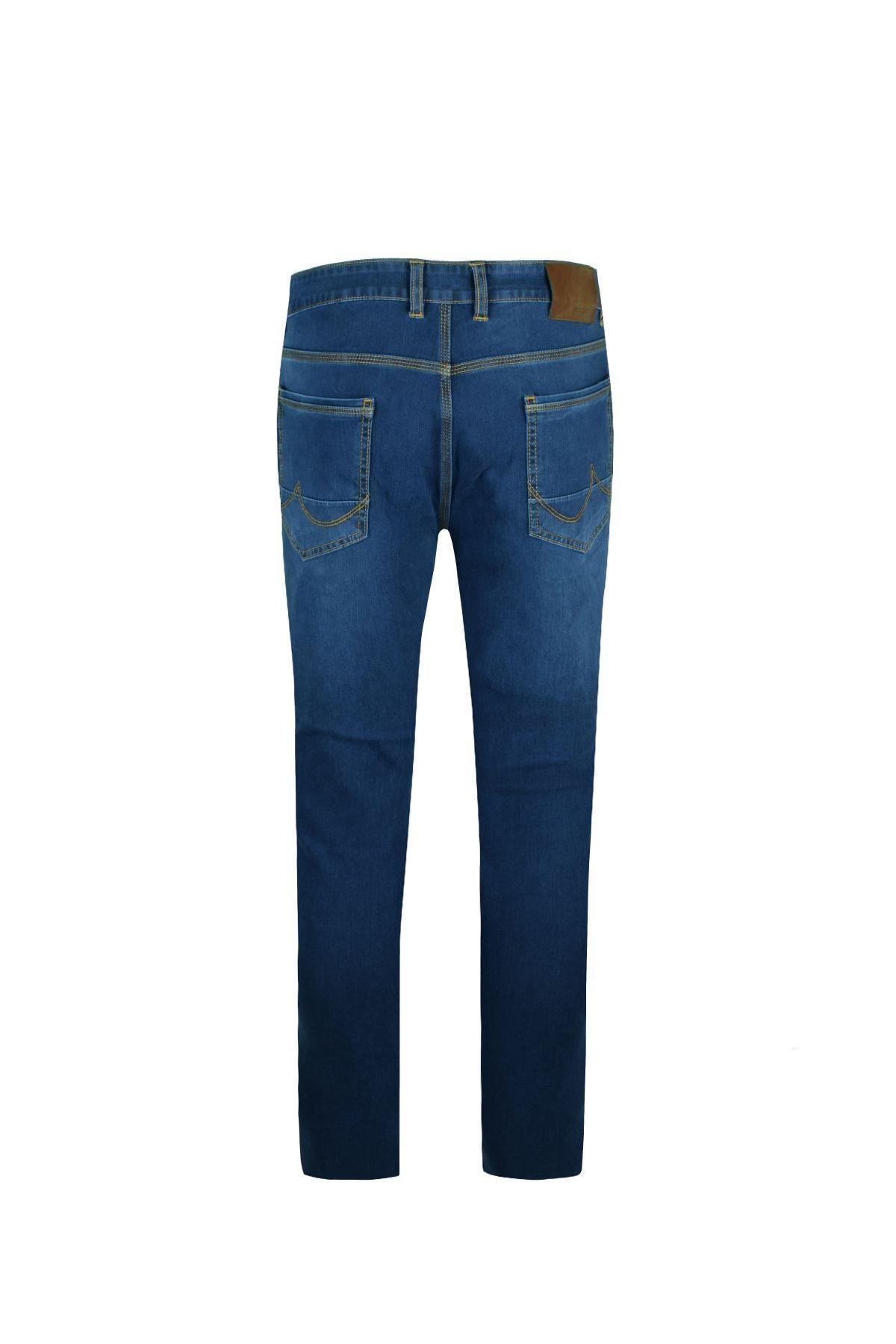 LUCCİO Erkek Slimfit Mavi Comfort Likralı Bilek Paça Denim Pantolon 2