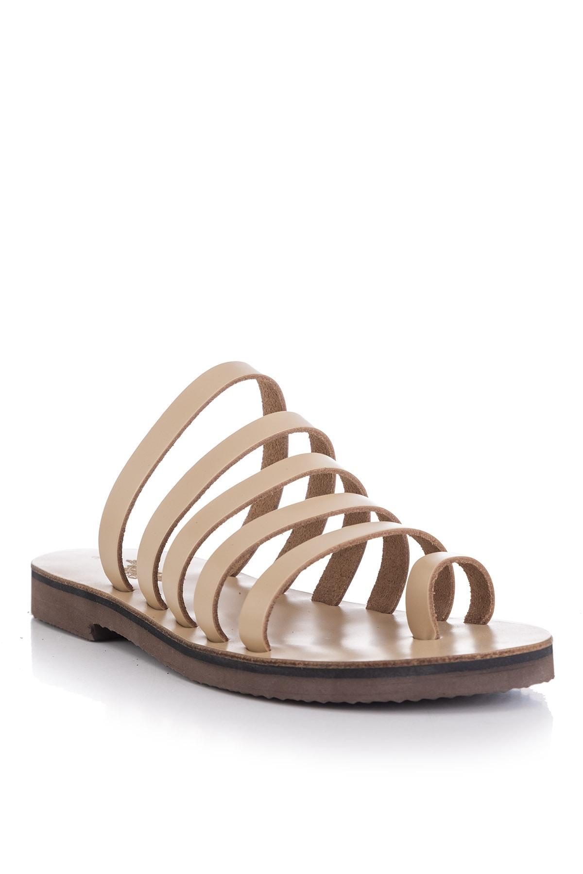 DaphneSandals El Yapımı Hakiki Deri Natural Kadın Sandalet - 5136 1